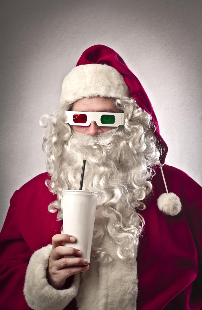 santa mit 3d brille und soda
